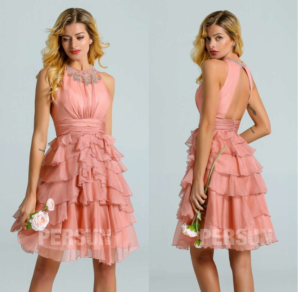 robe cocktail courte rose saumon à dos ouvert jupe volants